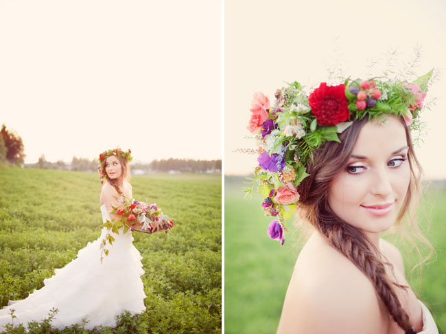 bride wearing floral wreath, fishtail braid