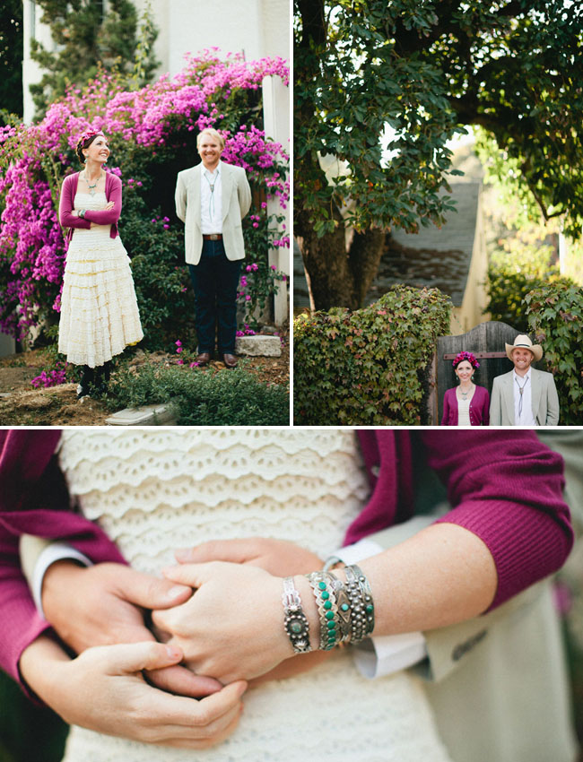 bride wearing purple cardigan