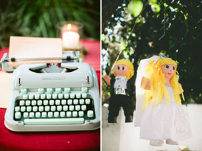 typewriter, bride adn groom pinata