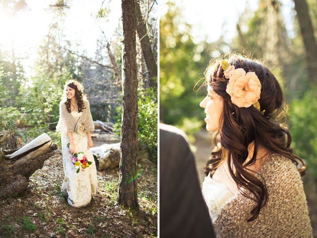 bride with flower hairpiece