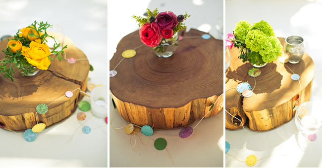 wood slice centerpieces