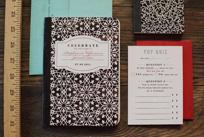 school notebook wedding invites