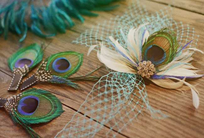 peacock bridal accessory