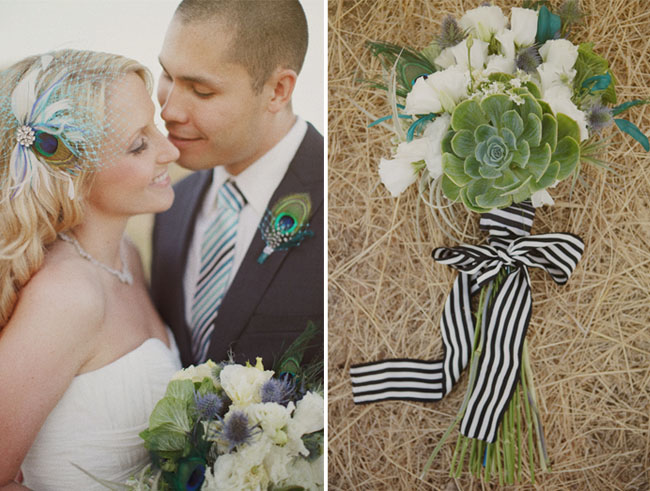 succulent and striped ribbon bouquet