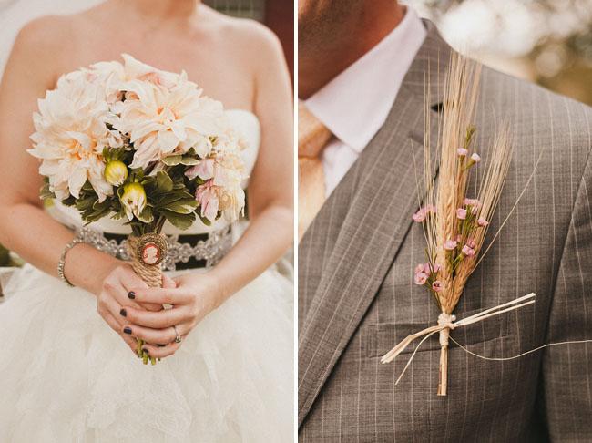 pink bouquet, wheat boutonniere