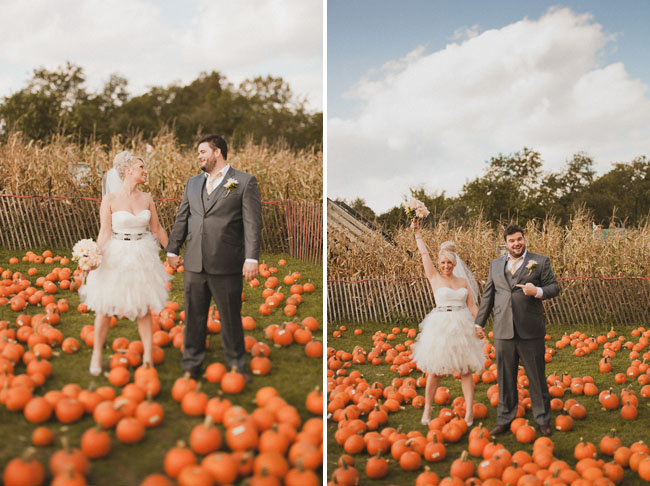 bride and groom pumpkin patch