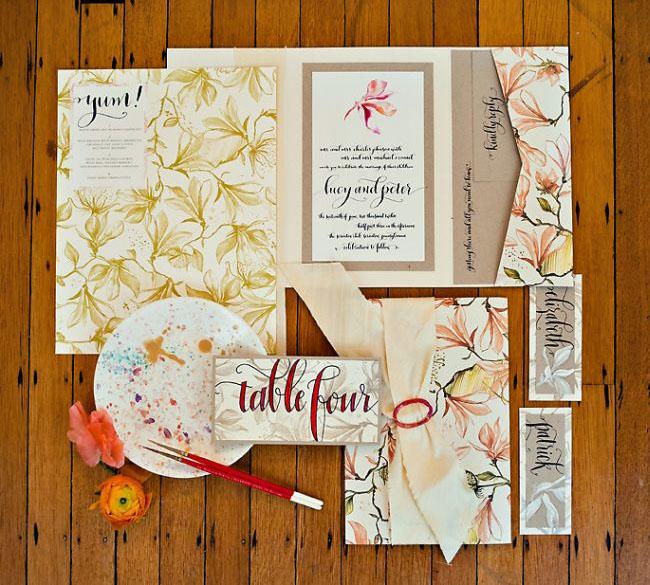 trellis wedding invitation suite