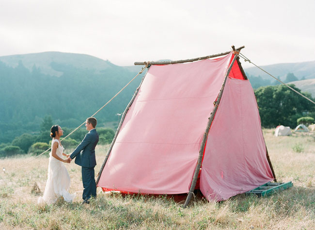giant pink tent, wedding