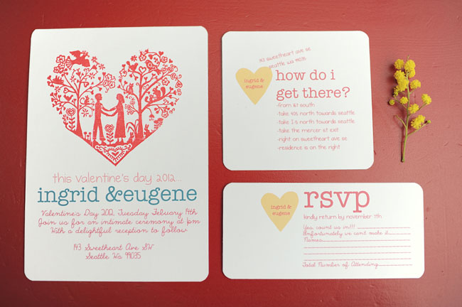 heart wedding invitaitons