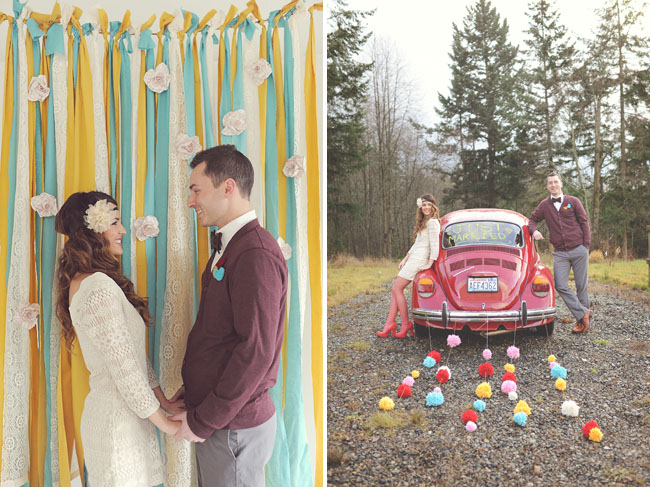 ribbon backdrop, pom car getaway decor