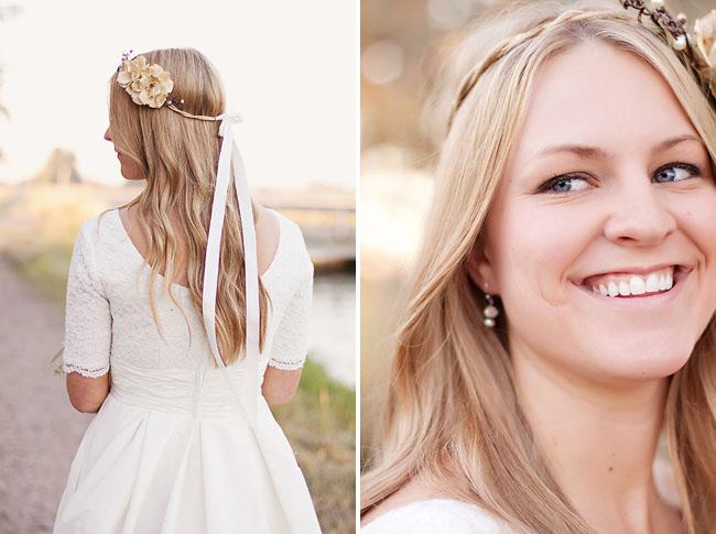 bride wearing hairpiece