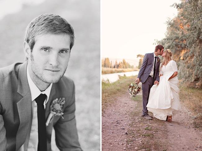groom wearing black tie