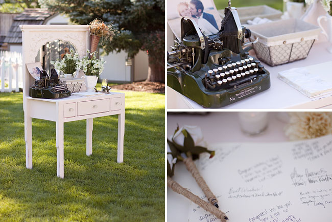 typewriter, guest table