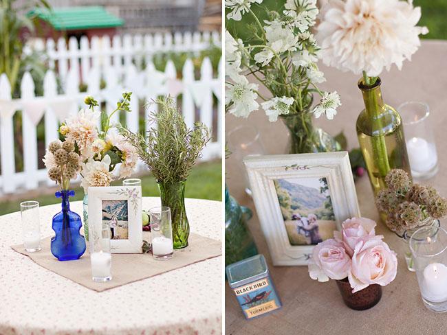 frames on wedding tables