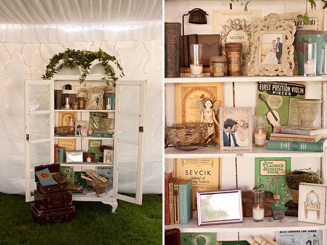 bookcase wedding decor