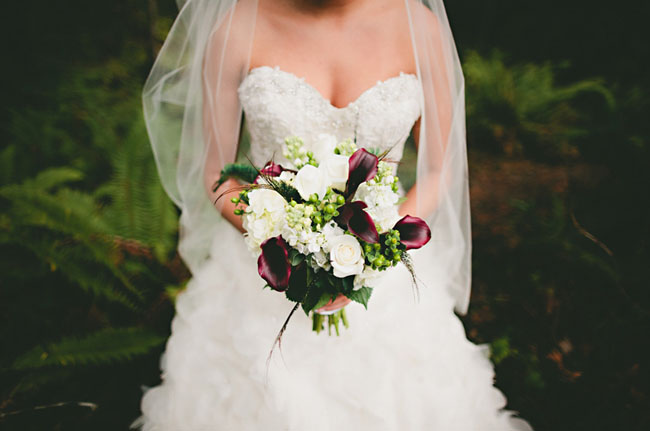 purple and white bouquet