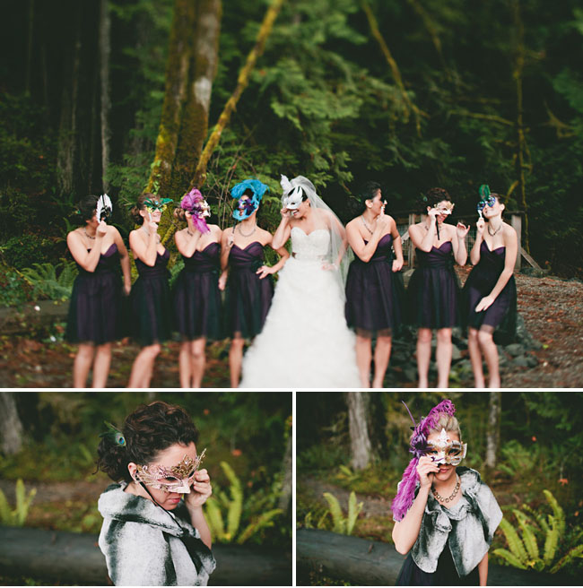bridesmaids with masks