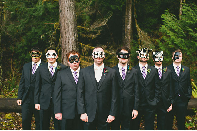 groomsmen wearing masks