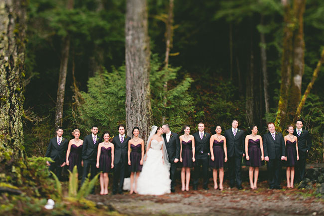 bridesmaids wearing purple