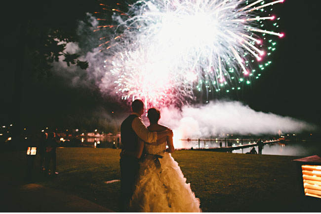 new years eve wedding fireworks