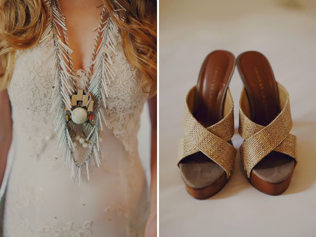 wooden wedge bridal shoes