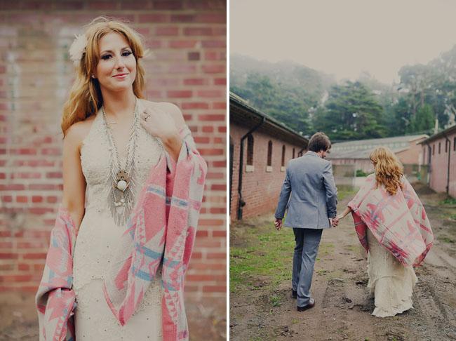 boho necklace, bride and groom