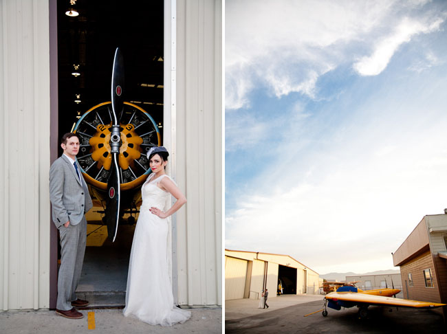 airplane hangar wedding