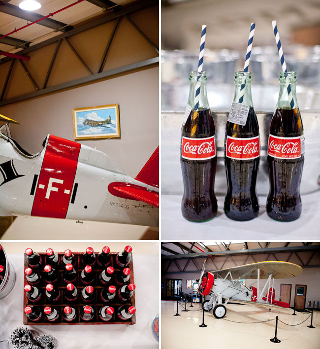 airplane hangar reception, coke bottles