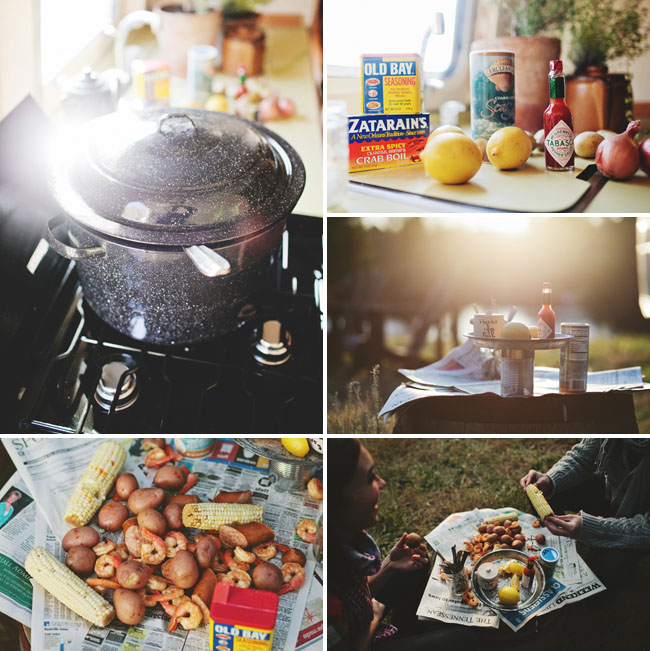 couple eating, camping food