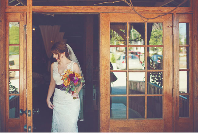 bride, purple sash