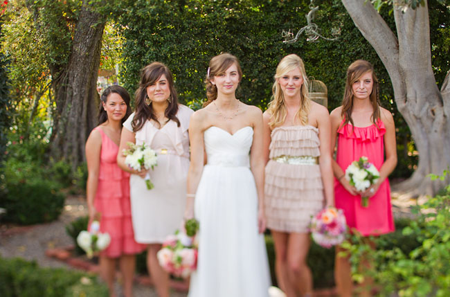 pink and red bridesmaids dresses
