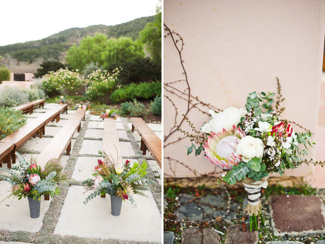 wooden bench ceremony, organic bouquet