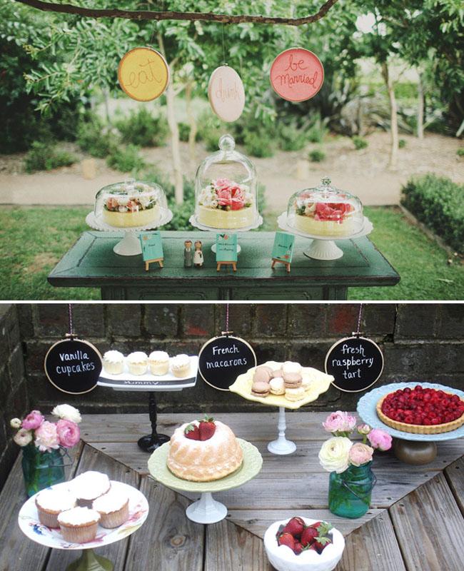 embroidery hoops dessert bar