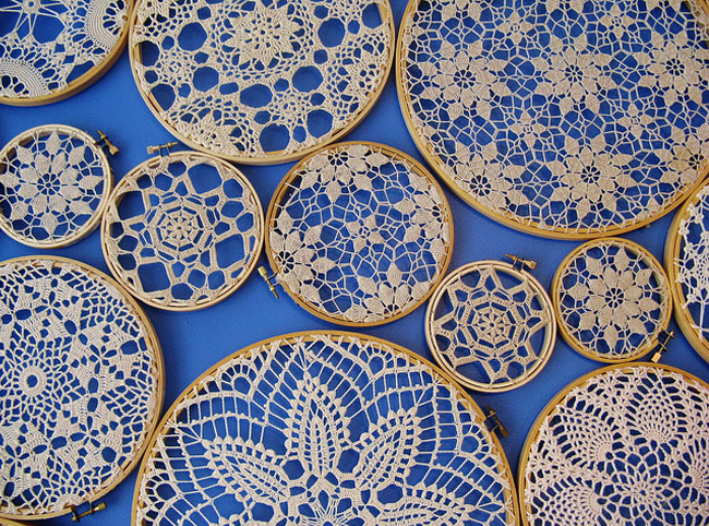 embroidery hoops doilies