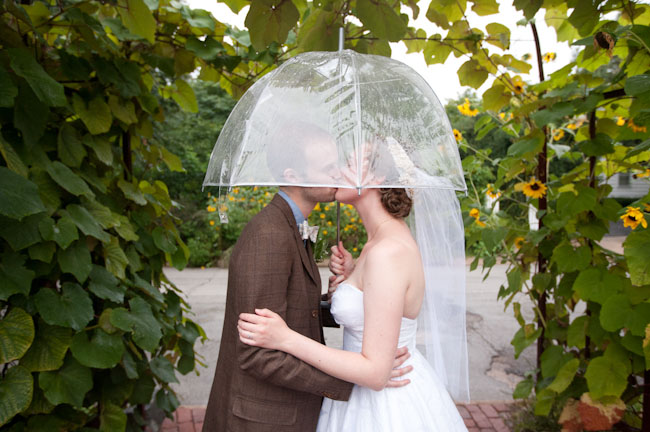 clear umbrella, bride and groom