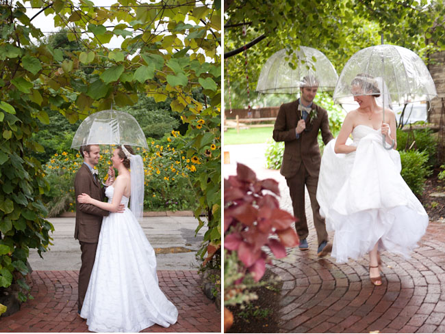 bride and groom clear umbrellas
