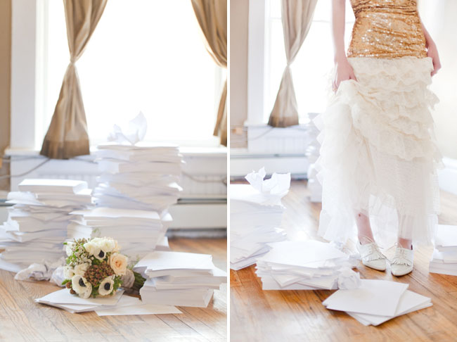 anemone bouquet, stacks of papers