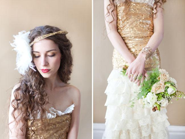 gold sequin dress top, feather harpiece