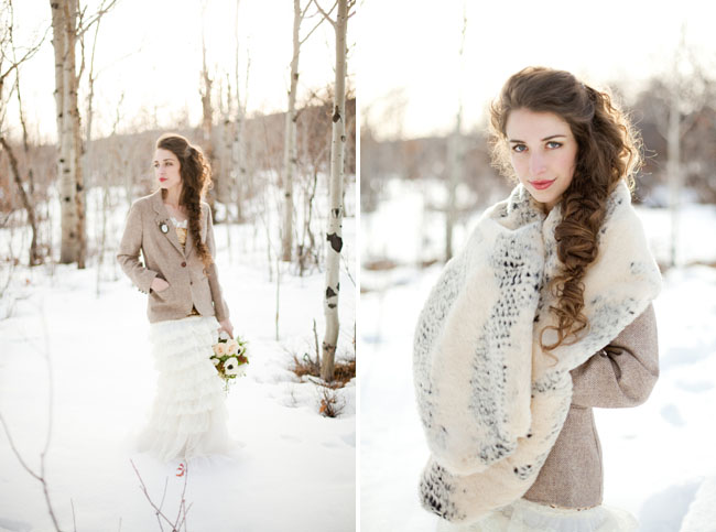 fur wrap, blazer over wedding dress