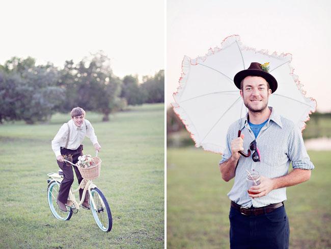 groom riding bike