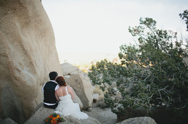 bride and groom, joshua tree