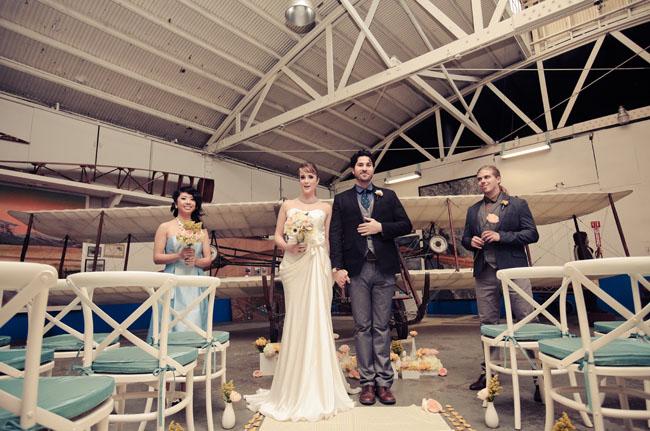 wedding ceremony airplane hanger