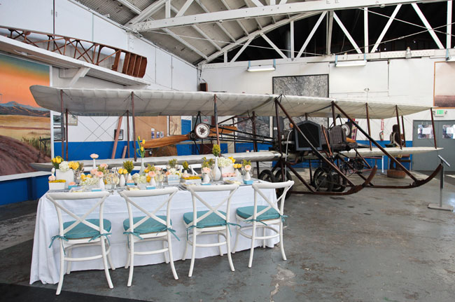 wedding reception airplane hanger