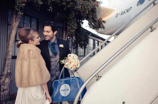 wedding airplane hanger