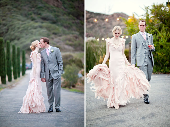 A Romantic Wedding With A Pink Wedding Dress Lauren Dan