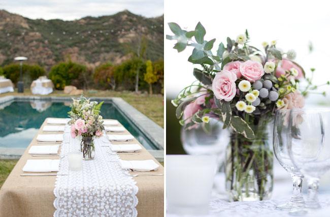 Pink Centerpieces Burlap Tablecloth