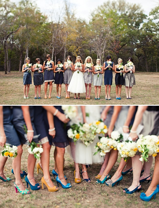 blue and gray bridesmaids