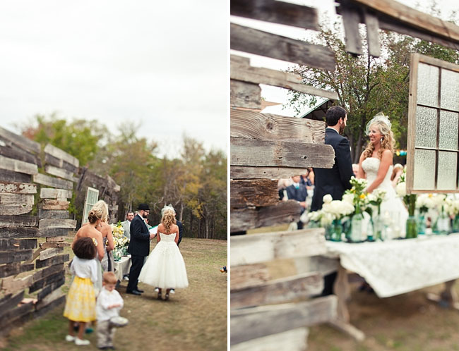 outdoor wedding, wood altar piece