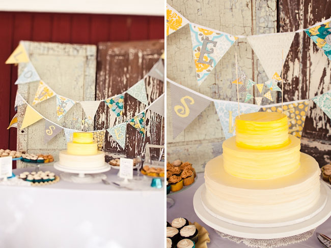 yellow ombre wedding cake, bunting, dessert bar