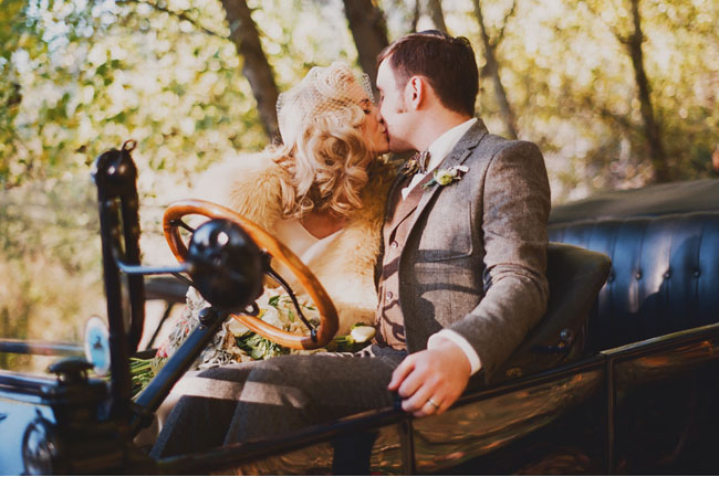 bride and groom in model t